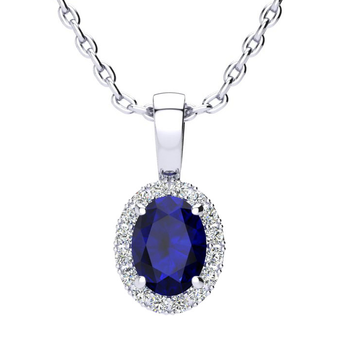 1 Carat Oval Shape Sapphire And Halo Diamond Necklace In 14 Karat White Gold With 18 Inch Chain
