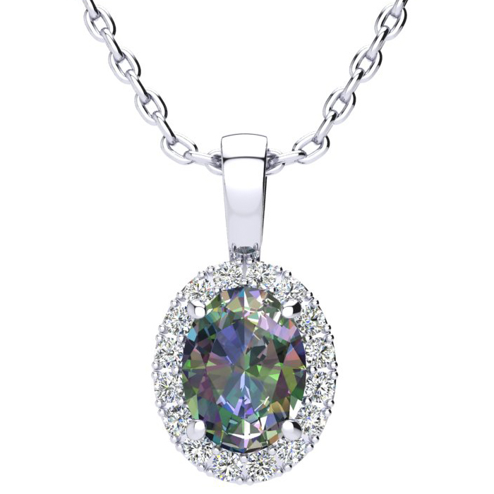 1 1/2 Carat Oval Shape Mystic Topaz And Halo Diamond Necklace In 14 Karat White Gold With 18 Inch Chain