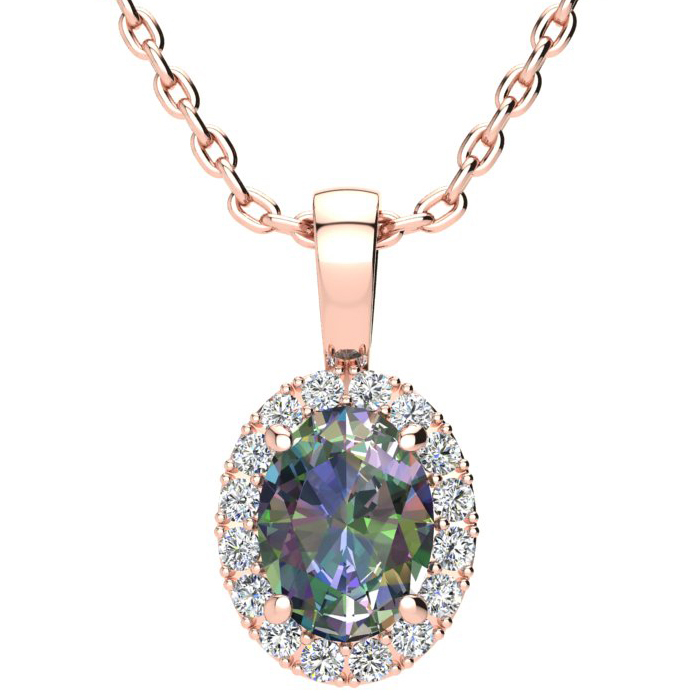1 1/2 Carat Oval Shape Mystic Topaz and Halo Diamond Necklace In 10 Karat Rose Gold With 18 Inch Chain