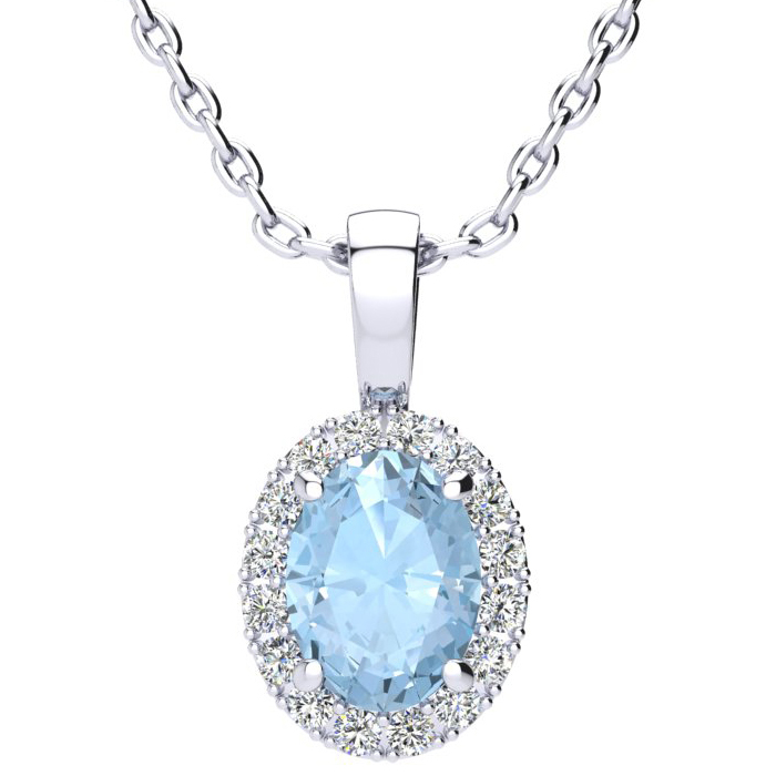 1 1/3 Carat Oval Shape Aquamarine and Halo Diamond Necklace In 14 Karat Whit..
