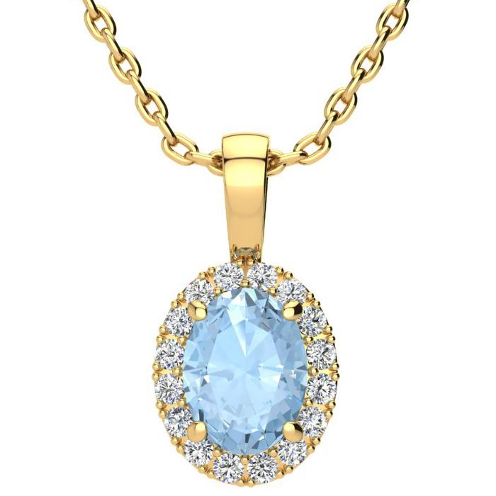1 1/3 Carat Oval Shape Aquamarine and Halo Diamond Necklace In 10 Karat Yell..