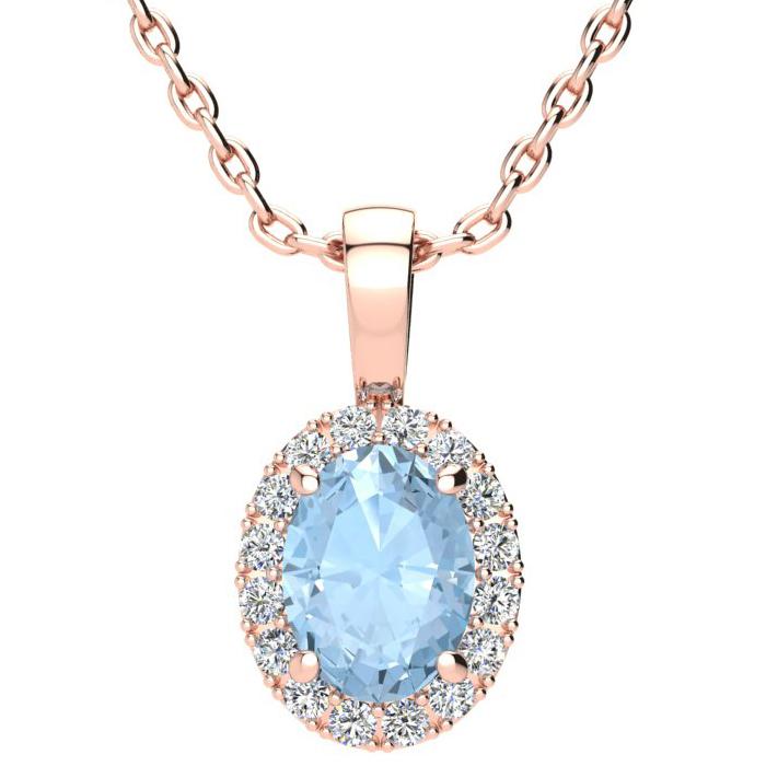 1 1/3 Carat Oval Shape Aquamarine and Halo Diamond Necklace In 10 Karat Rose..
