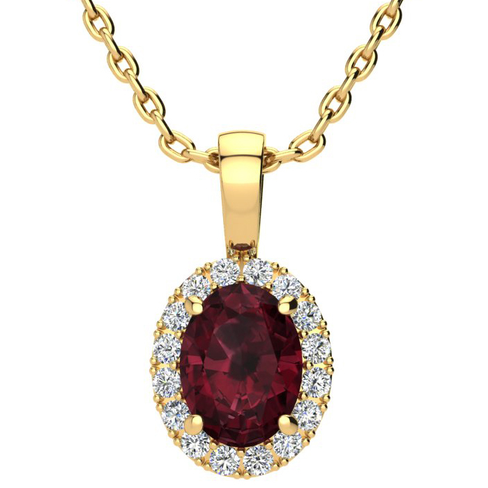 1 1/2 Carat Oval Shape Garnet and Halo Diamond Necklace In 14 Karat Yellow Gold With 18 Inch Chain
