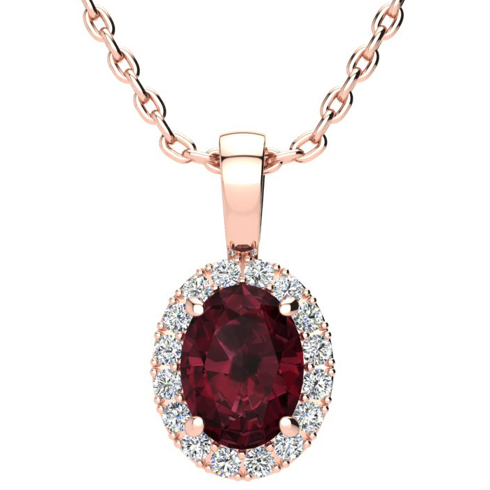 1 1/2 Carat Oval Shape Garnet and Halo Diamond Necklace In 14 Karat Rose Gold With 18 Inch Chain