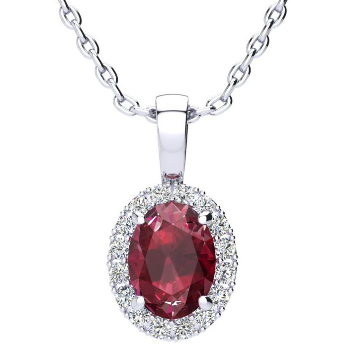 1 3/4 Carat Oval Shape Ruby And Halo Diamond Necklace In 14 Karat White Gold With 18 Inch Chain