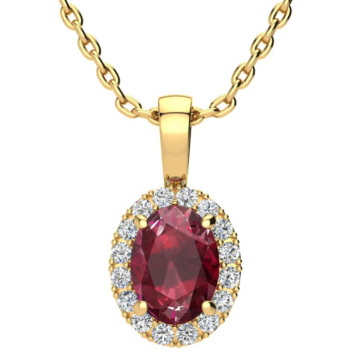 1 3/4 Carat Oval Shape Ruby and Halo Diamond Necklace In 14 Karat Yellow Gold With 18 Inch Chain