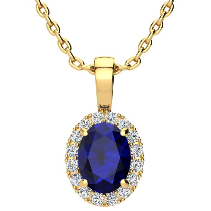 1 3/4 Carat Oval Shape Sapphire and Halo Diamond Necklace In 10 Karat Yellow Gold With 18 Inch Chain