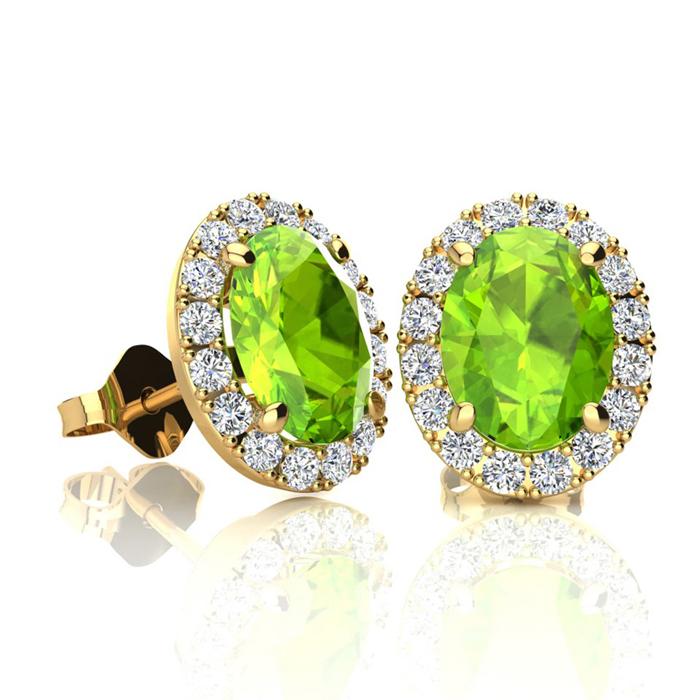 2 Carat Oval Shape Peridot and Halo Diamond Stud Earrings In 14 Karat Yellow Gold