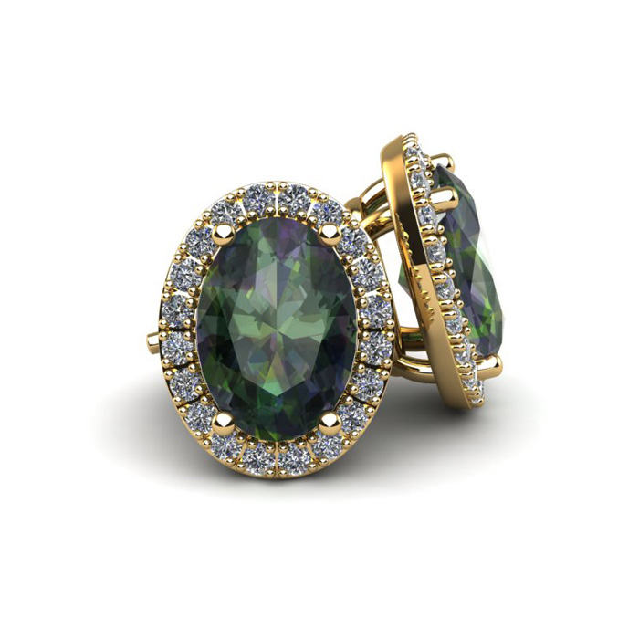 2 1/4 Carat Oval Shape Mystic Topaz and Halo Diamond Stud Earrings In 14 Karat Yellow Gold