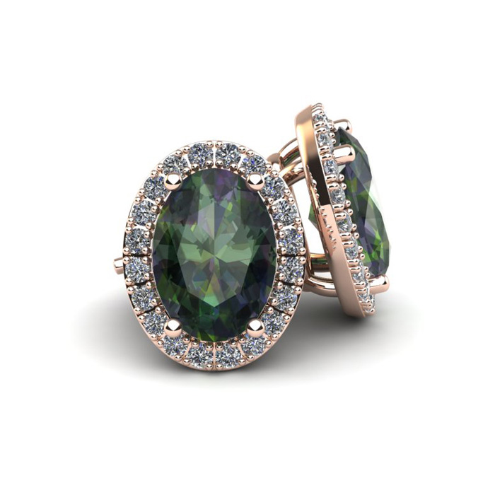 2 1/4 Carat Oval Shape Mystic Topaz and Halo Diamond Stud Earrings In 10 Karat Rose Gold