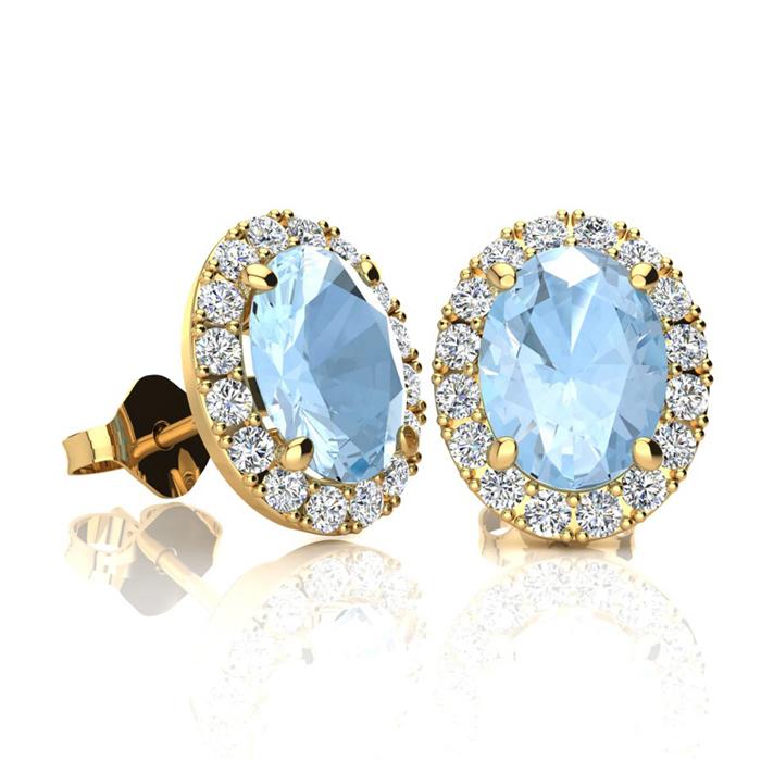 1 3/4 Carat Oval Shape Aquamarine and Halo Diamond Stud Earrings In 10 Karat..