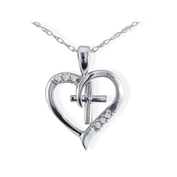 .03ct Cross Diamond Heart Pendant in 10k White Gold