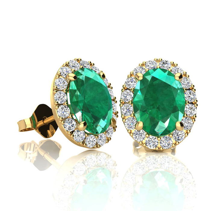 1 3/4 Carat Oval Shape Emerald and Halo Diamond Stud Earrings In 10 Karat Yellow Gold