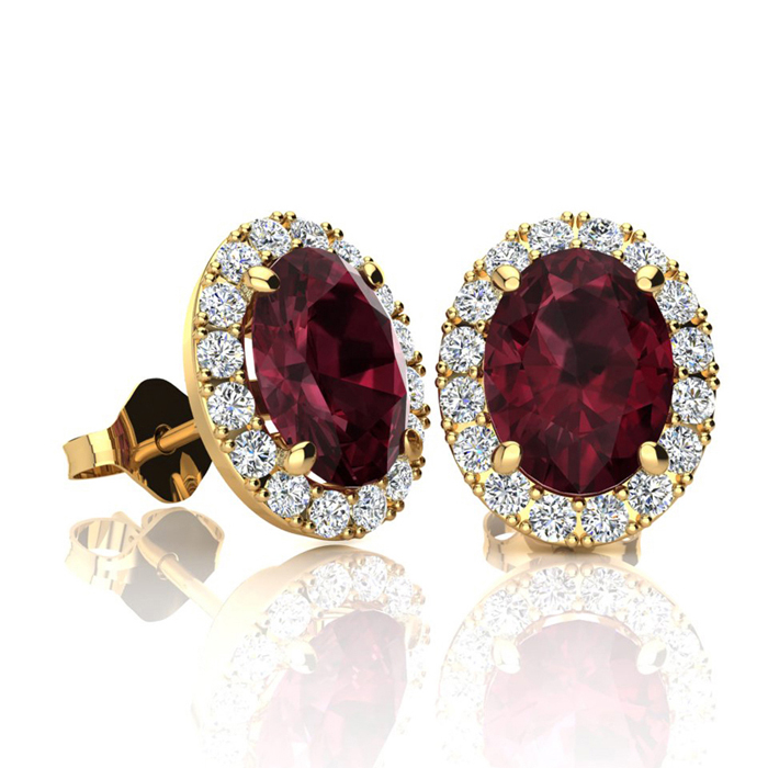 2 1/4 Carat Oval Shape Garnet and Halo Diamond Stud Earrings In 10 Karat Yellow Gold