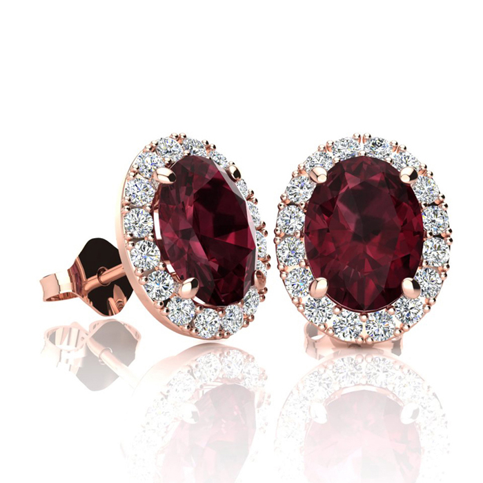 2 1/4 Carat Oval Shape Garnet and Halo Diamond Stud Earrings In 14 Karat Rose Gold