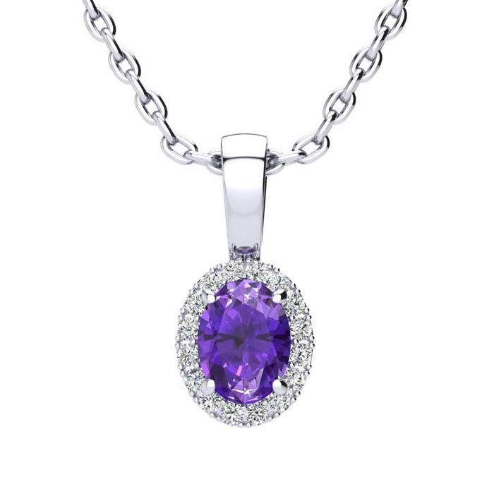 1/2 Carat Oval Shape Amethyst and Halo Diamond Necklace In 14 Karat White Go..