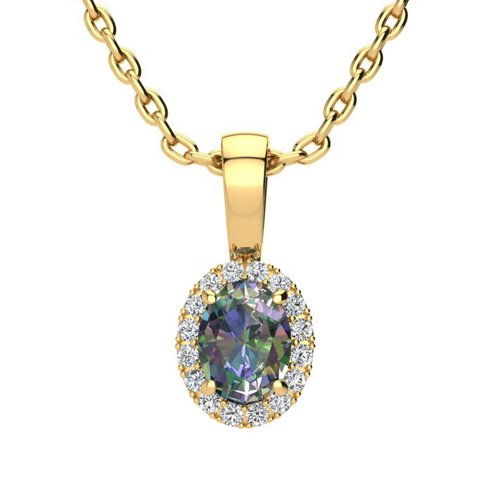 0.62 Carat Oval Shape Mystic Topaz and Halo Diamond Necklace In 14 Karat Yellow Gold With 18 Inch Chain