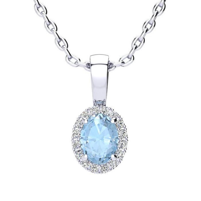 1/2 Carat Oval Shape Aquamarine and Halo Diamond Necklace In 10 Karat White ..