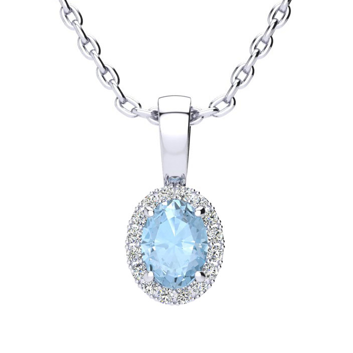 1/2 Carat Oval Shape Aquamarine and Halo Diamond Necklace In 14 Karat White ..