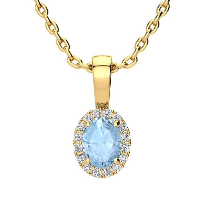1/2 Carat Oval Shape Aquamarine and Halo Diamond Necklace In 10 Karat Yellow..