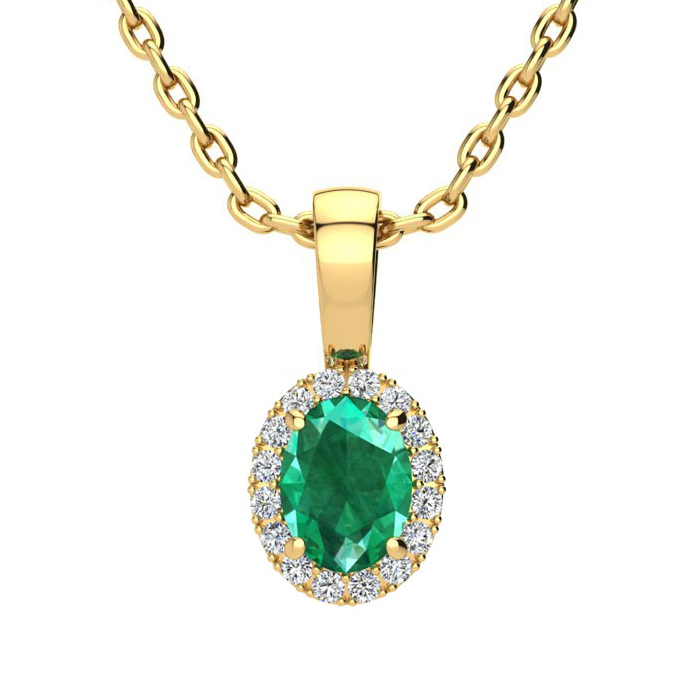 1/2 Carat Oval Shape Emerald and Halo Diamond Necklace In 10 Karat Yellow Gold With 18 Inch Chain
