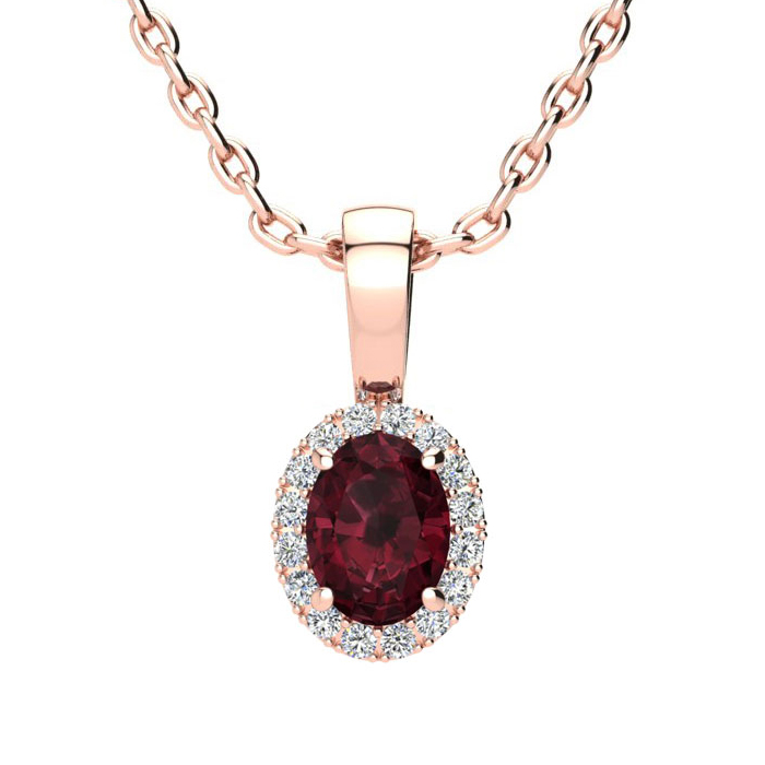 0.62 Carat Oval Shape Garnet and Halo Diamond Necklace In 10 Karat Rose Gold With 18 Inch Chain