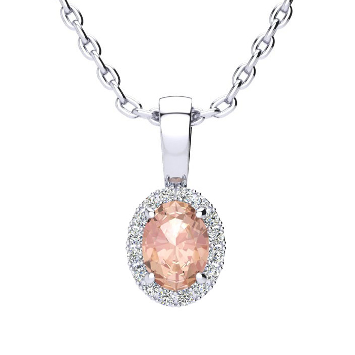 1/2 Carat Oval Shape Morganite and Halo Diamond Necklace In 10 Karat White Gold With 18 Inch Chain