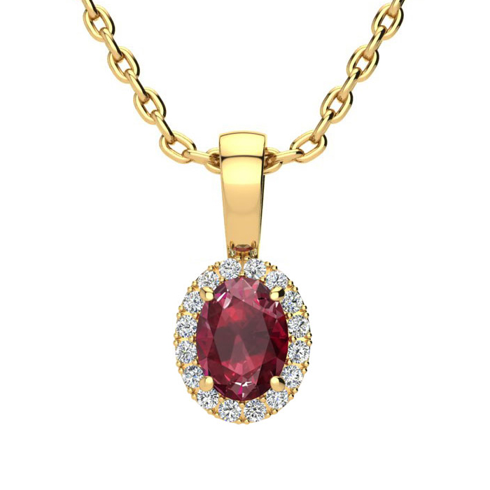 0.62 Carat Oval Shape Ruby and Halo Diamond Necklace In 10 Karat Yellow Gold With 18 Inch Chain