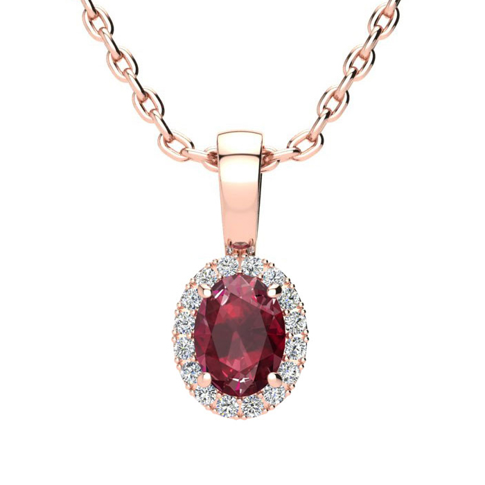 0.62 Carat Oval Shape Ruby And Halo Diamond Necklace In 10 Karat Rose Gold With 18 Inch Chain
