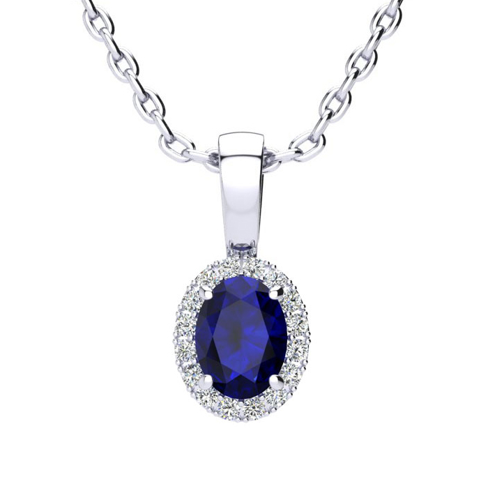 0.67 Carat Oval Shape Sapphire and Halo Diamond Necklace In 14 Karat White Gold With 18 Inch Chain