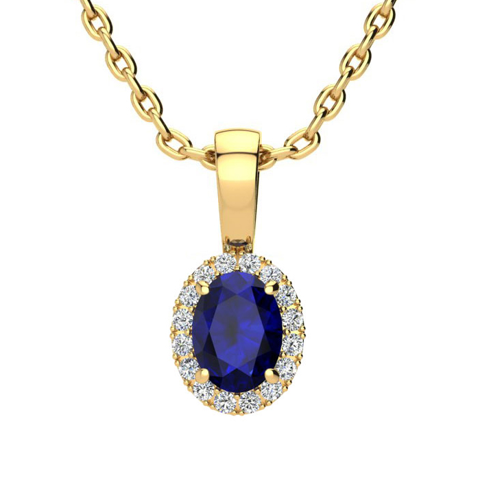 0.67 Carat Oval Shape Sapphire And Halo Diamond Necklace In 14 Karat Yellow Gold With 18 Inch Chain