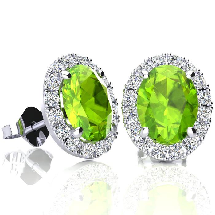 3 Carat Oval Shape Peridot and Halo Diamond Stud Earrings In 14 Karat White Gold