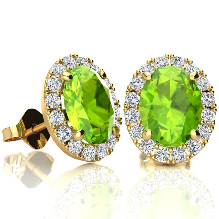 3 Carat Oval Shape Peridot and Halo Diamond Stud Earrings In 14 Karat Yellow Gold