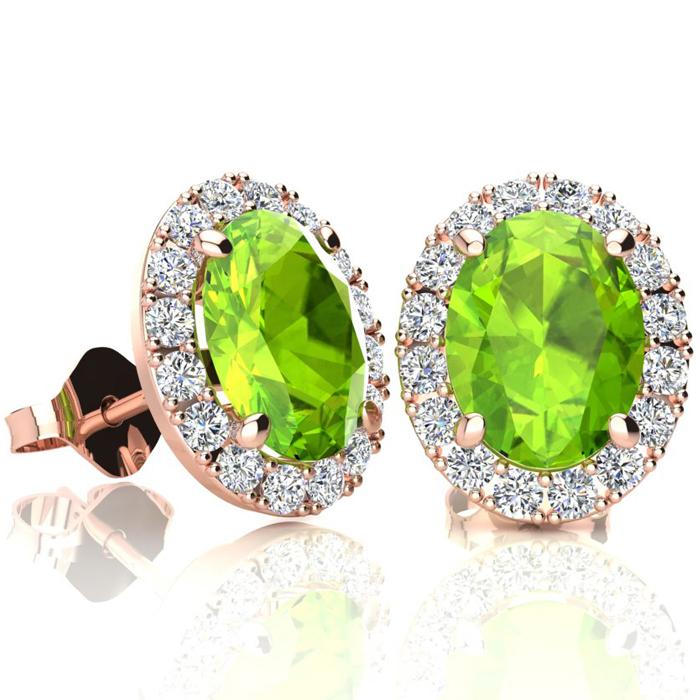 3 Carat Oval Shape Peridot and Halo Diamond Stud Earrings In 14 Karat Rose Gold