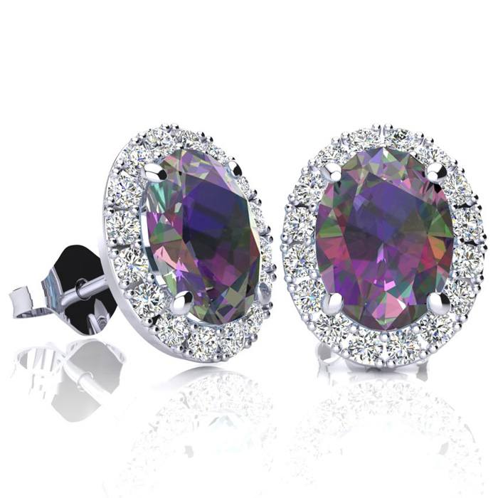3 1/4 Carat Oval Shape Mystic Topaz and Halo Diamond Stud Earrings In 14 Karat White Gold