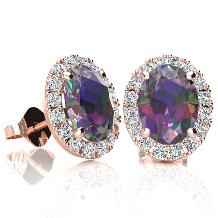 3 1/4 Carat Oval Shape Mystic Topaz and Halo Diamond Stud Earrings In 10 Karat Rose Gold