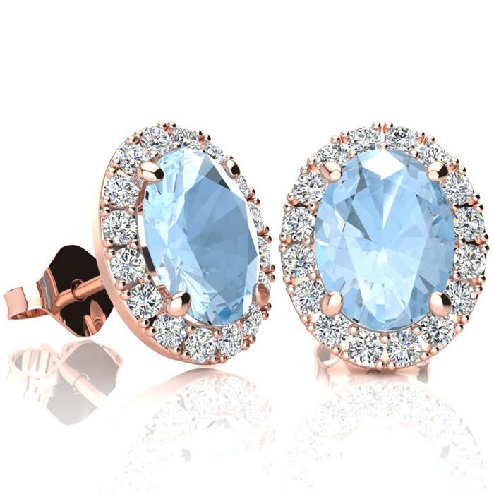 2 1/2 Carat Oval Shape Aquamarine and Halo Diamond Stud Earrings In 10 Karat..