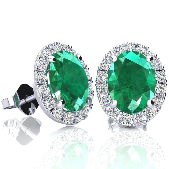 2 1/2 Carat Oval Shape Emerald and Halo Diamond Stud Earrings In 10 Karat White Gold