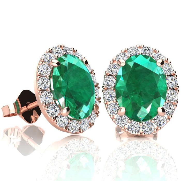 2 1/2 Carat Oval Shape Emerald and Halo Diamond Stud Earrings In 14 Karat Rose Gold