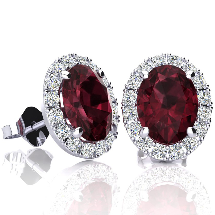 3 1/4 Carat Oval Shape Garnet and Halo Diamond Stud Earrings In 14 Karat White Gold