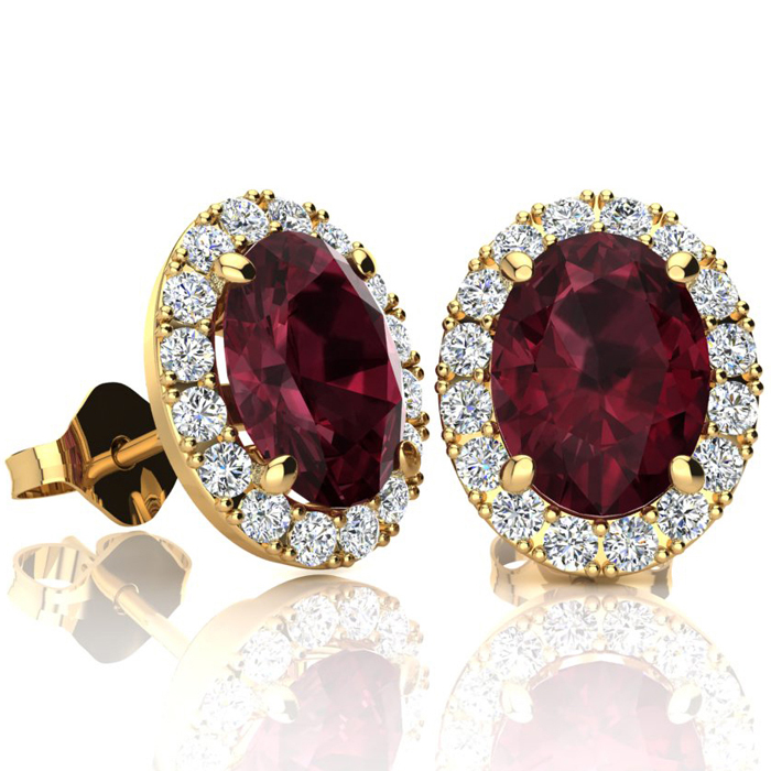 3 1/4 Carat Oval Shape Garnet and Halo Diamond Stud Earrings In 14 Karat Yellow Gold