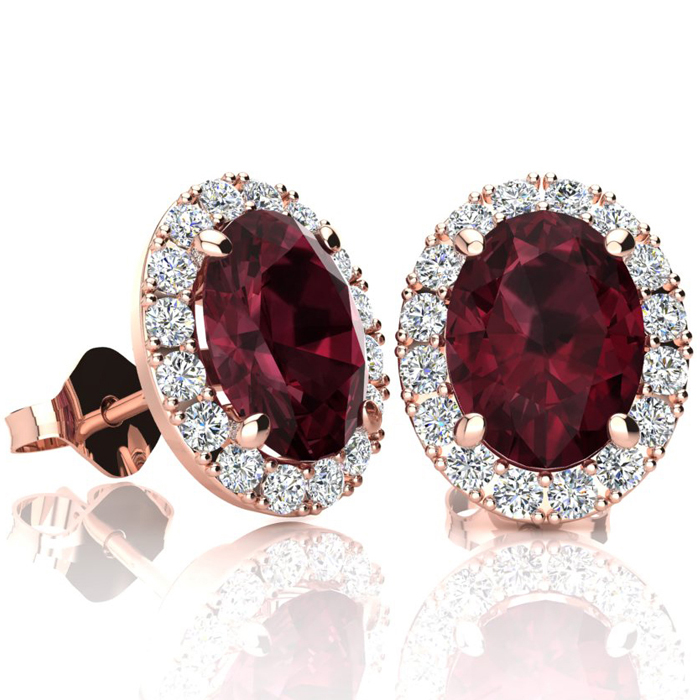 3 1/4 Carat Oval Shape Garnet and Halo Diamond Stud Earrings In 14 Karat Rose Gold