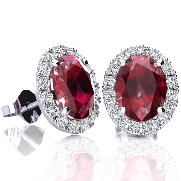 3.40 Carat Oval Shape Ruby and Halo Diamond Stud Earrings In 14 Karat White Gold