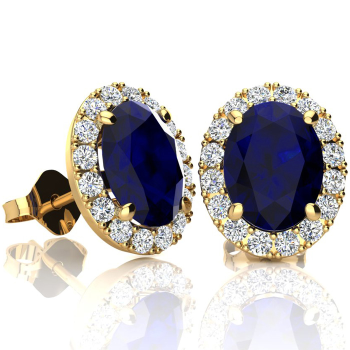 3 1/2 Carat Oval Shape Sapphire and Halo Diamond Stud Earrings In 14 Karat Yellow Gold