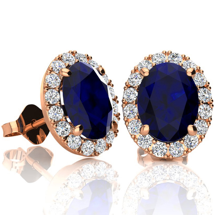 3 1/2 Carat Oval Shape Sapphire and Halo Diamond Stud Earrings In 14 Karat Rose Gold