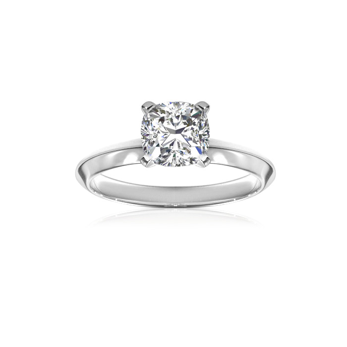 1 Carat Cushion Diamond Solitaire Engagement Ring in 14 Karat White Gold