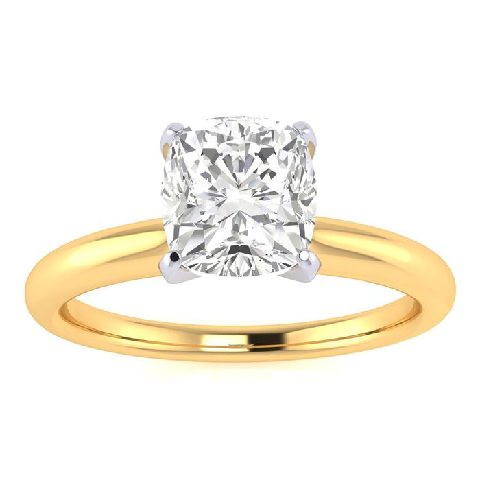 1 Carat Cushion Diamond Solitaire Engagement Ring in 14 Karat Yellow Gold