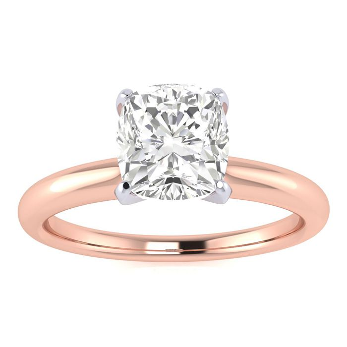 1 Carat Cushion Diamond Solitaire Engagement Ring in 14 Karat Rose Gold