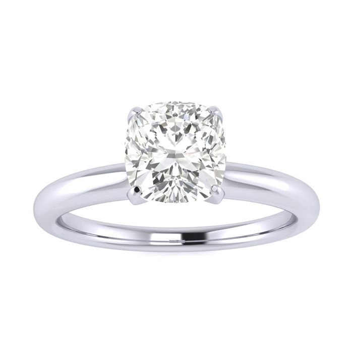 3/4 Carat Cushion Diamond Solitaire Engagement Ring in 14 Karat White Gold