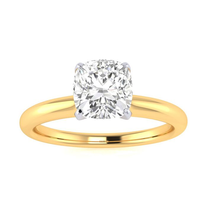 3/4 Carat Cushion Diamond Solitaire Engagement Ring in 14 Karat Yellow Gold